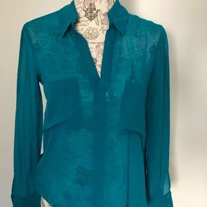 Sheer teal button down